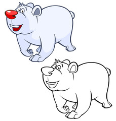 Foto auf AluDibond Babyzimmer Vector Illustration of a Cute Cartoon Character Polar Bear for you Design and Computer Game. Coloring Book Outline