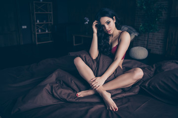 Close up photo beautiful desire tenderness gentle she her wife hold hands arms crossed legs blanket...