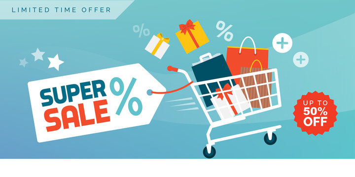 Online shopping promotional sale banner with full shopping cart