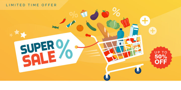 Grocery shopping promotional sale advertisement