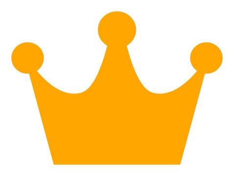 Gold crown vector icon. Flat Gold crown symbol is isolated on a white background.