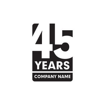 45th year anniversary emblem logo design
