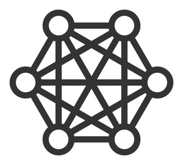 Network connections vector icon. Flat Network connections symbol is isolated on a white background.