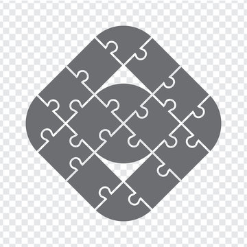 Simple icon puzzle in gray.  Simple icon puzzle of the sixteen elements on transparent background. Sixteen pieces polygonal puzzle. EPS10.