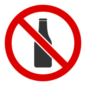 No beer bottle vector icon. Flat No beer bottle pictogram is isolated on a white background.