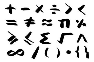Math, mathematical Symbols hand drawn set