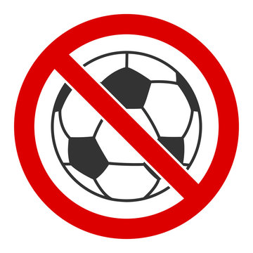 No football vector icon. Flat No football symbol is isolated on a white background.