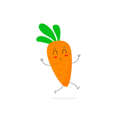 Carrot. Cute happy vegetable character. Cartoon. Flat design