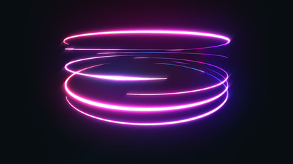 Abstract Neon Light Streaks Background/ 4k animation of an abstract background with shining neon light strokes following circular ring motion path Fototapete
