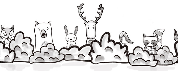 Woodland animals seamless kids border. Black and white repeating seamless pattern. Hand drawn cute forest animals. Bear, deer, owl, fox, raccoon, rabbit hiding behind bushes. Children Footer, header