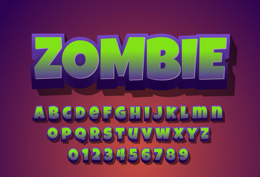 Zombie - text effect with modern 3d design, gradient font complete set alphabet for game title or logo