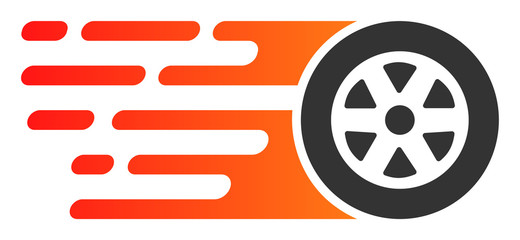 Rush car wheel vector icon. Flat Rush car wheel symbol is isolated on a white background.