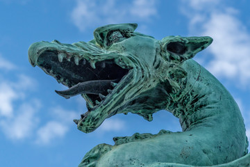 Ljubljana dragon on the bridge city symbol