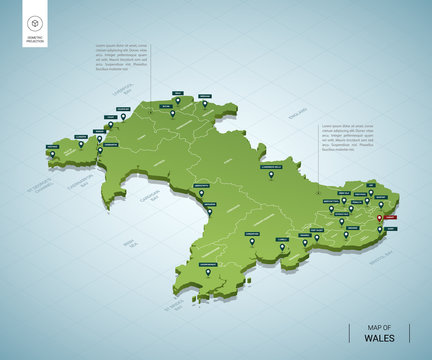 Stylized map of Wales. Isometric 3D green map with cities, borders, capital Cardiff, regions. Vector illustration. Editable layers clearly labeled. English language.