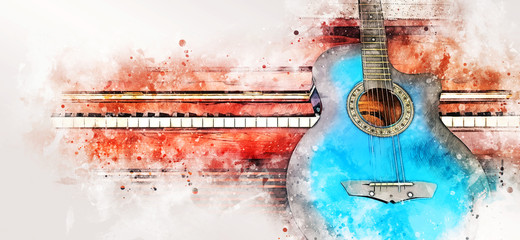 Abstract colorful guitar and piano keyboard on watercolor illustration painting background.