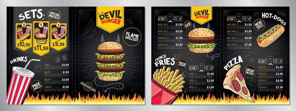 Devil burger - restaurant menu card/ template - (burgers, french fries, hot-dogs, pizza, drinks, sets) - 2 x A4 (210x297 mm)