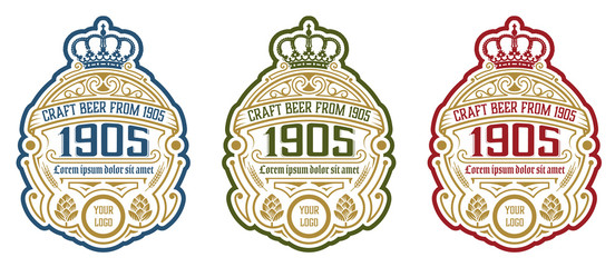 Vintage  beer label design template with hop. Vector illustration.