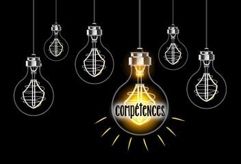 Concept de compétences avec ampoule