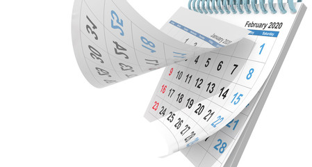 calendar february 2020 flying  pages - 3d rendering