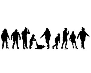Children and adults ice skate. Isolated silhouettes of people on a white background