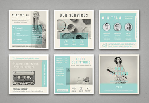 Pale Blue and Light Gray Social Media Square Post Layouts
