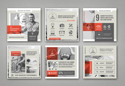 Pale Beige and Gray with Red Accents Social Media Square Post Layouts