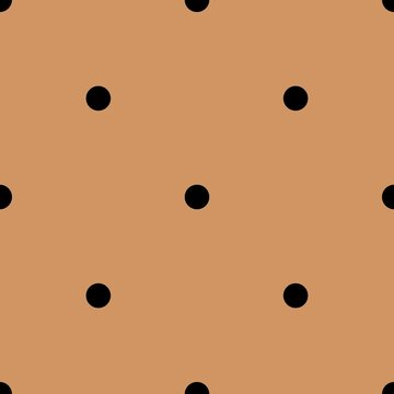 Tile vector pattern with black polka dots on brown background for decoration wallpaper