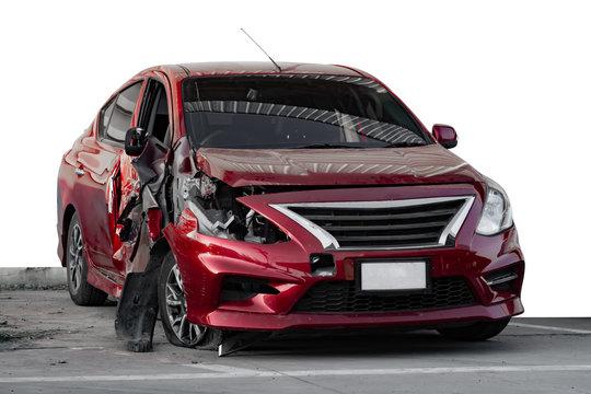 Red car crash on isolated white background.