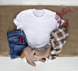 White tshirt mockup - shirt boots plaid scarf and jeans. Christmas mock up