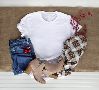 White tshirt mockup - shirt boots plaid scarf and jeans. Christmas mock up