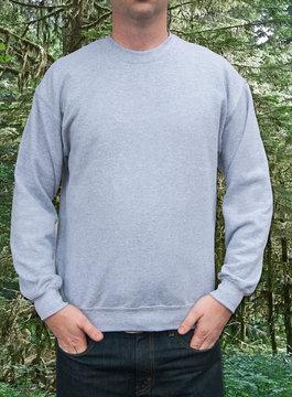 Guy sweatshirt mockup gray sweatshirt
