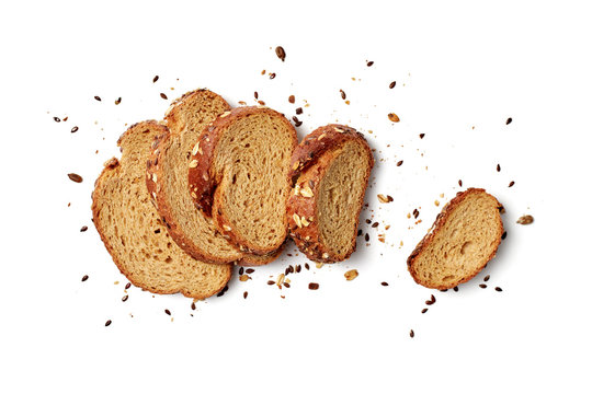 A loaf of sliced bread with oats and flax seeds