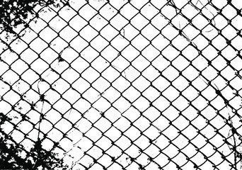 Realistic segment of a metal mesh fence. Chain link fence texture. Distressed Backdrop Vector Illustration. Isolated on white background. EPS 10.