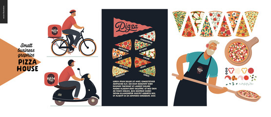 Pizza house -small business graphics -baker and delivery. Modern flat vector concept illustrations -man with a peel, putting pizza into oven, slices, ingredients, poster. Pizza guy on bicycle, scooter