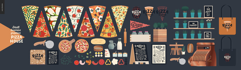 Pizza house -small business graphics -product range. Modern flat vector concept illustrations -pizza slices, delivery box, topping, dough, roller, menu on blackboard, rolling pin, flour, eggs, sieve