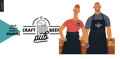 Craft beer pub -small business owners graphics - two owner. Modern flat vector concept illustrations - young woman and man wearing black apron, standing at the wooden counter. Shop logo