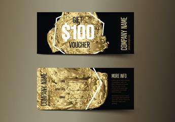 Golden Gift Voucher Card Layout