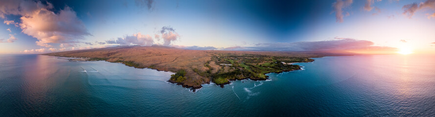 Zelfklevend Fotobehang Kust Aerial view of the west coast of the Big Island, Hawaii