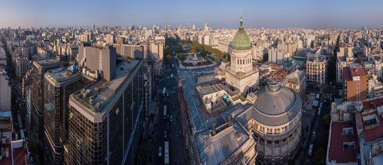 Poster Buenos Aires Aerial panorama of the city of Buenos Aires and Congress building, Argentina