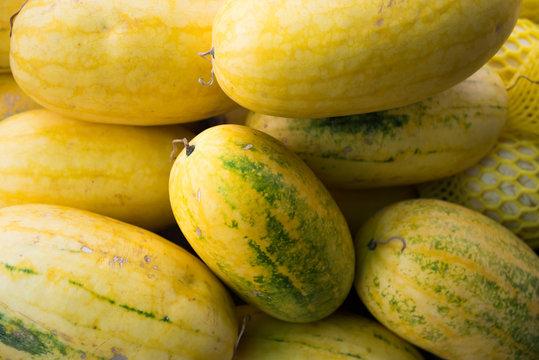 Pile of  fresh yellow skin watermelon.