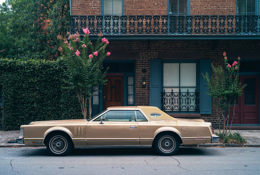 1970s Car Parked at an Elegant Southern Town House