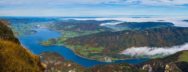 Picturesque autumn Alps mountain lakes view from Schafberg viewpoint, Salzkammergut, Upper Austria.