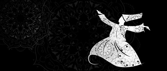 Vector Islam dance Sufi dervishes religion. Whirling dances of dervishes.