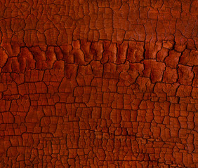 Keuken foto achterwand Brandhout textuur Orange toned wood charcoal texture. Burnt coal tree. Abstract grunge cracks background