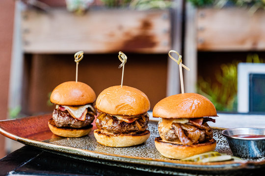 Beef sliders on a plate