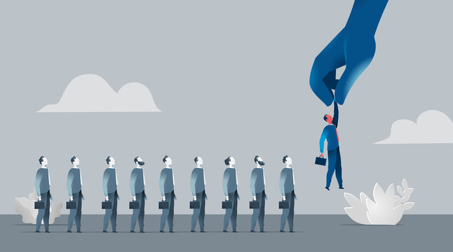 Selezione della forza vendita, reclutamento. Mano che sceglie uomini d'affari - illustrazione vettoriale