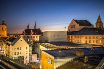 Sonnenaufgang über Mainz auf einem Parkhausdach