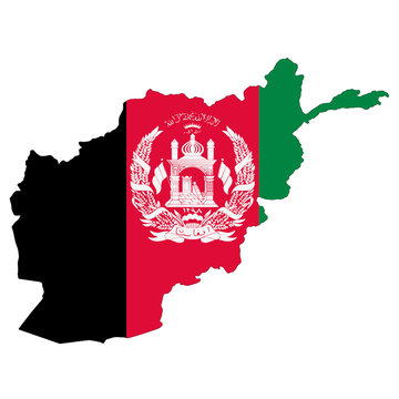 Afghanistan flag map on white with clipping path