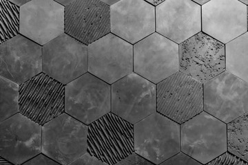 Hexagon wall with a complex form, wall tiles, background made of shapes