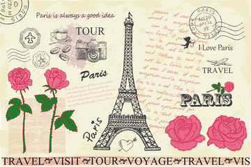 Retro postcard with Eiffel tower in Paris, France. Wall mural